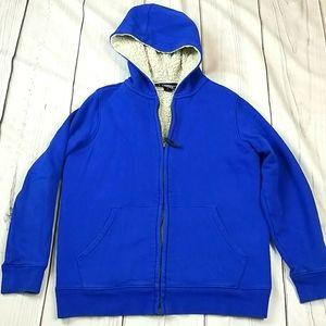Lands End boys 10 12 fleece lined hoodie blue warm
